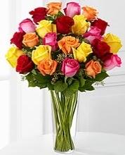 27 adet rengarenk vazoda güller