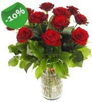 11 adet vazo içerisinde kırmızı gül  Muğla online çiçekçi , çiçek siparişi