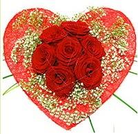 Mika kalp içerisinde 7 adet kırmızı gül  Muğla çiçek online çiçek siparişi