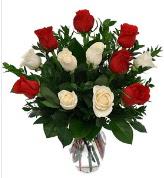 Vazo içerisinde 6 kırmızı 6 beyaz gül  Muğla hediye sevgilime hediye çiçek