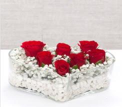 kalp içerisinde 7 adet kırmızı gül  Muğla yurtiçi ve yurtdışı çiçek siparişi
