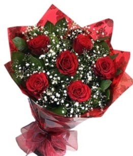 6 adet kırmızı gülden buket  Muğla çiçek siparişi sitesi