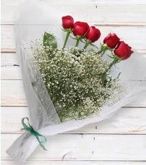 5 kırmızı gülden sade buket  Muğla online çiçek gönderme sipariş
