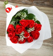 9 kırmızı gülden buket çiçeği  Muğla cicek , cicekci