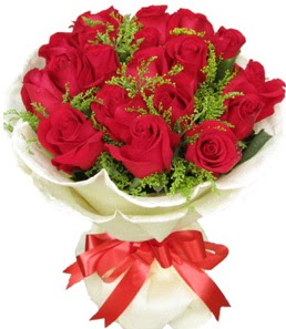 19 adet kırmızı gülden buket tanzimi  Muğla çiçek , çiçekçi , çiçekçilik