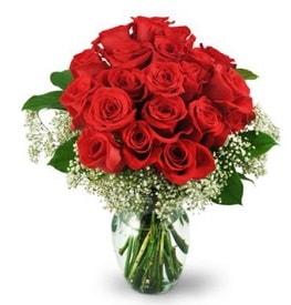 25 adet kırmızı gül cam vazoda  Muğla 14 şubat sevgililer günü çiçek