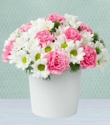 Seramik vazoda papatya ve kır çiçekleri  Muğla çiçek servisi , çiçekçi adresleri