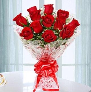 11 adet kırmızı gülden görsel şık buket  Muğla anneler günü çiçek yolla
