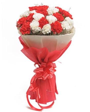 21 adet kırmızı beyaz karanfil buketi  Muğla uluslararası çiçek gönderme