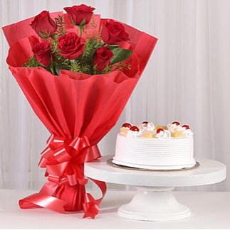 6 Kırmızı gül ve 4 kişilik yaş pasta  Muğla 14 şubat sevgililer günü çiçek