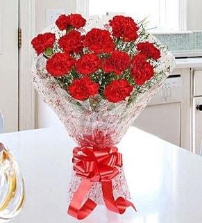 12 adet kırmızı karanfil buketi  Muğla internetten çiçek siparişi