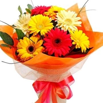 9 adet karışık gerbera buketi  Muğla 14 şubat sevgililer günü çiçek