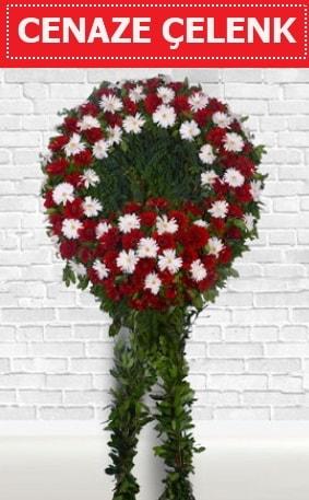 Kırmızı Beyaz Çelenk Cenaze çiçeği  Muğla internetten çiçek siparişi