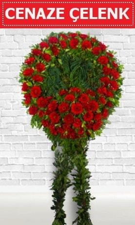 Kırmızı Çelenk Cenaze çiçeği  Muğla internetten çiçek siparişi
