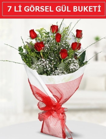 7 adet kırmızı gül buketi Aşk budur  Muğla uluslararası çiçek gönderme