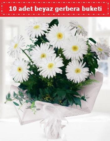 10 Adet beyaz gerbera buketi  Muğla 14 şubat sevgililer günü çiçek