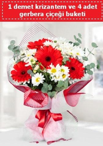 Krizantem ve Gerbera Buketi  Muğla çiçek servisi , çiçekçi adresleri