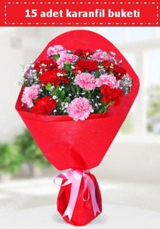 15 adet karanfilden hazırlanmış buket  Muğla İnternetten çiçek siparişi