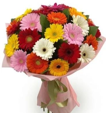 Karışık büyük boy gerbera çiçek buketi  Muğla uluslararası çiçek gönderme