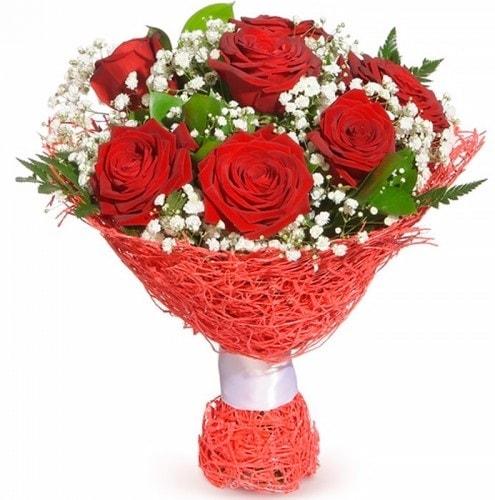 7 adet kırmızı gül buketi  Muğla kaliteli taze ve ucuz çiçekler